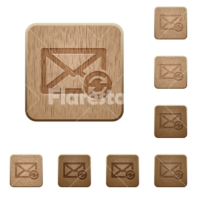 Syncronize mail wooden buttons - Syncronize mail icons in carved wooden button styles