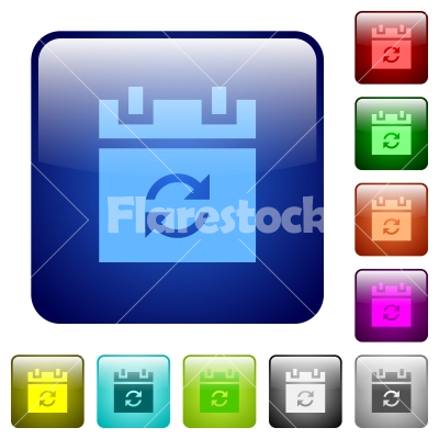 Syncronize schedule color square buttons - Syncronize schedule icons in rounded square color glossy button set