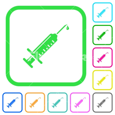 Syringe with drop vivid colored flat icons - Syringe with drop vivid colored flat icons in curved borders on white background