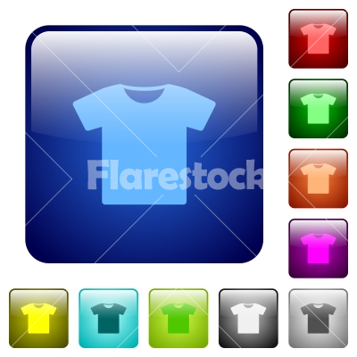 T-shirt color square buttons - T-shirt icons in rounded square color glossy button set