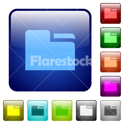 Tab folder color square buttons - Tab folder icons in rounded square color glossy button set