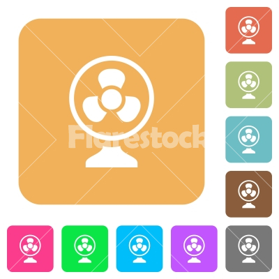 Table fan rounded square flat icons - Table fan flat icons on rounded square vivid color backgrounds.