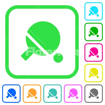 Table tennis vivid colored flat icons - Table tennis vivid colored flat icons in curved borders on white background