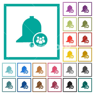 Team reminder flat color icons with quadrant frames - Team reminder flat color icons with quadrant frames on white background
