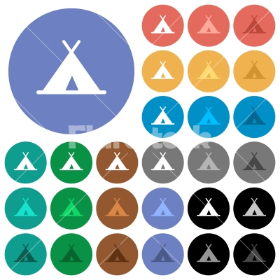 Tent round flat multi colored icons - Tent multi colored flat icons on round backgrounds. Included white, light and dark icon variations for hover and active status effects, and bonus shades on black backgounds.