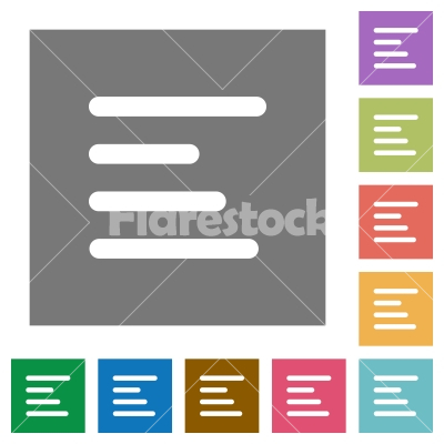 Text align left square flat icons - Text align left flat icons on simple color square backgrounds