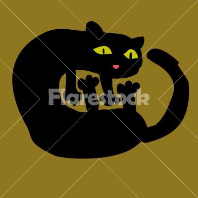 The Black Cat - Vector design for logo, bag, t-shirt, illustration etc.