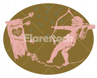 The clumsy Cupid - Illustration on separated background. Design for t-shirt, logo, bag, postcard, poster and so on. Stock vector.