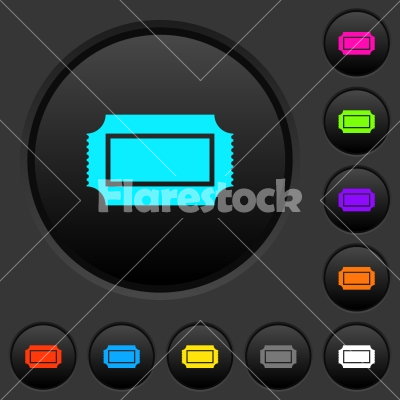 Ticket with perforated edges dark push buttons with color icons - Ticket with perforated edges dark push buttons with vivid color icons on dark grey background