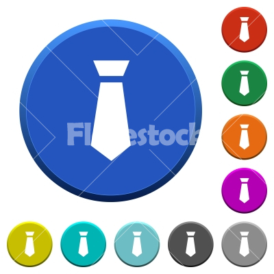 Tie beveled buttons - Tie round color beveled buttons with smooth surfaces and flat white icons - Free stock vector
