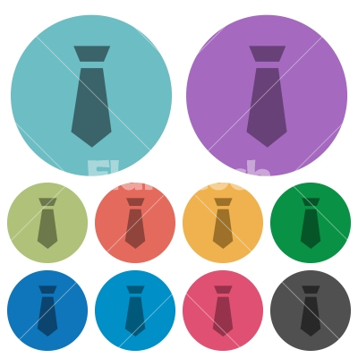 Tie color darker flat icons - Tie darker flat icons on color round background