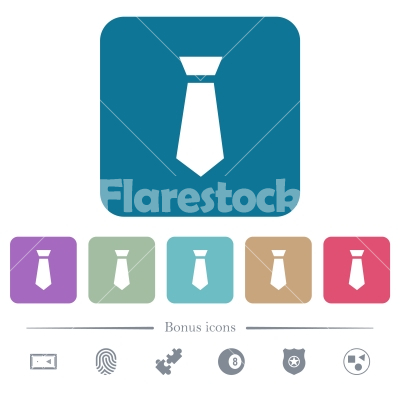 Tie flat icons on color rounded square backgrounds - Tie white flat icons on color rounded square backgrounds. 6 bonus icons included