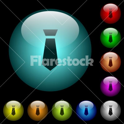 Tie icons in color illuminated glass buttons - Tie icons in color illuminated spherical glass buttons on black background. Can be used to black or dark templates