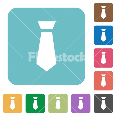 Tie rounded square flat icons - Tie white flat icons on color rounded square backgrounds