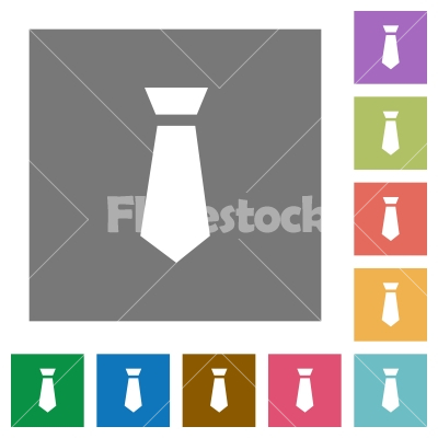 Tie square flat icons - Tie flat icons on simple color square backgrounds