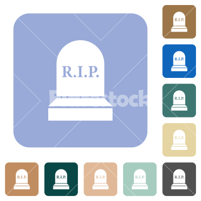 Tombstone with cross rounded square flat icons - Tombstone with cross white flat icons on color rounded square backgrounds