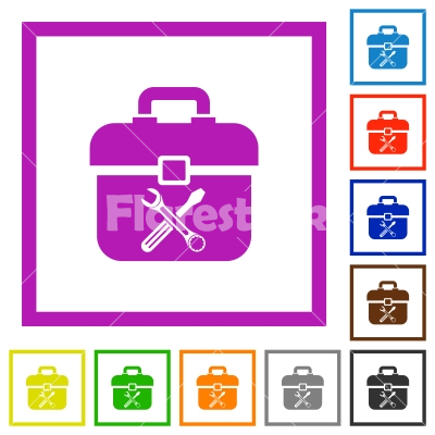 Toolbox flat framed icons - Toolbox flat color icons in square frames on white background