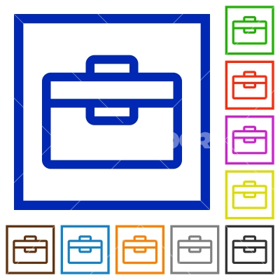 Toolbox framed flat icons - Set of color square framed toolbox flat icons on white background