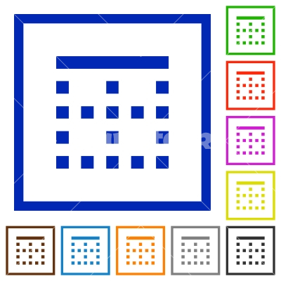 Top border flat framed icons - Top border flat color icons in square frames on white background