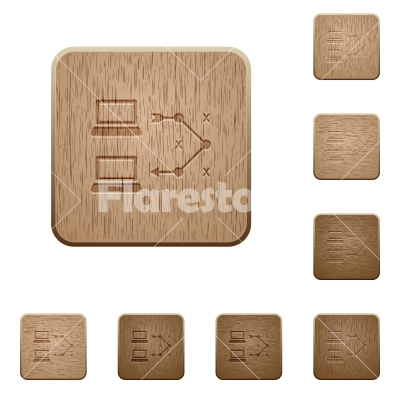 Traceroute remote computer wooden buttons - Traceroute remote computer on rounded square carved wooden button styles - Free stock vector