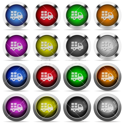 Transport button set - Set of transport glossy web buttons. Arranged layer structure.