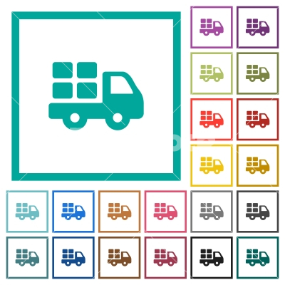 Transport flat color icons with quadrant frames - Transport flat color icons with quadrant frames on white background