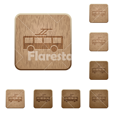 Trolley bus wooden buttons - Trolley bus on rounded square carved wooden button styles