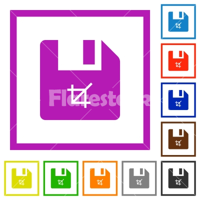 Truncate file flat framed icons - Truncate file flat color icons in square frames on white background