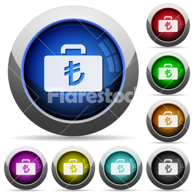 Turkish Lira bag round glossy buttons - Turkish Lira bag icons in round glossy buttons with steel frames