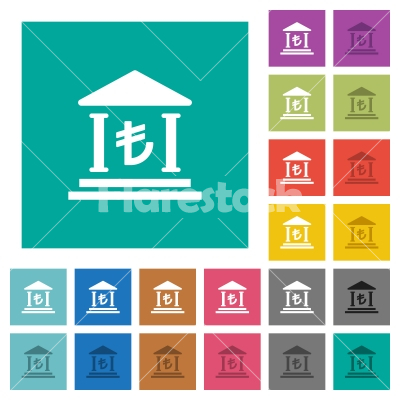 Turkish Lira bank office square flat multi colored icons - Turkish Lira bank office multi colored flat icons on plain square backgrounds. Included white and darker icon variations for hover or active effects.
