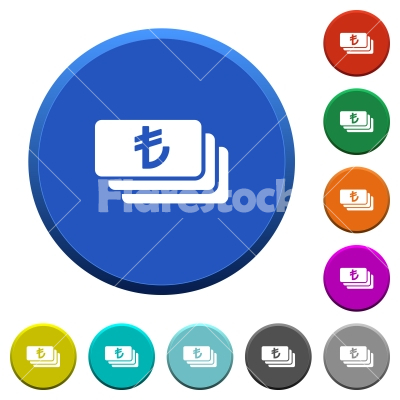 Turkish Lira banknotes beveled buttons - Turkish Lira banknotes round color beveled buttons with smooth surfaces and flat white icons