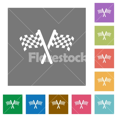 Two chequered flags square flat icons - Two chequered flags flat icons on simple color square backgrounds