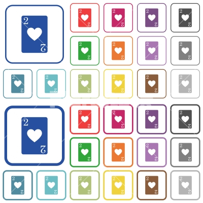 Two of hearts card outlined flat color icons - Two of hearts card color flat icons in rounded square frames. Thin and thick versions included.