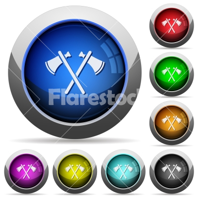 Two tomahawks round glossy buttons - Two tomahawks icons in round glossy buttons with steel frames - Free stock vector