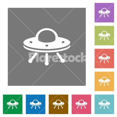 UFO square flat icons - UFO flat icons on simple color square backgrounds