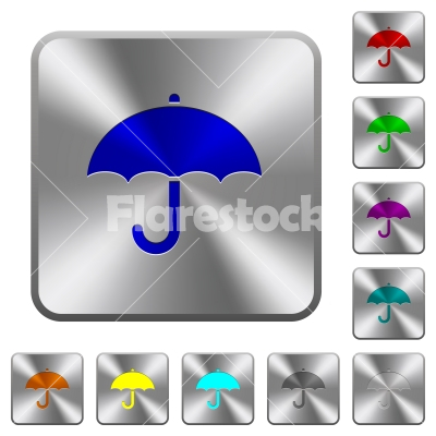 Umbrella rounded square steel buttons - Umbrella engraved icons on rounded square glossy steel buttons