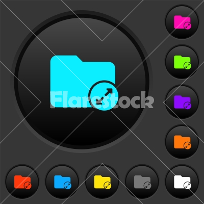 Uncompress directory dark push buttons with color icons - Uncompress directory dark push buttons with vivid color icons on dark grey background