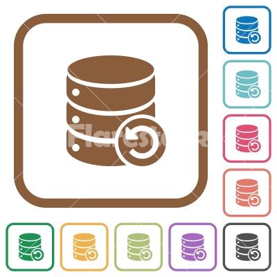 Undo database changes simple icons - Undo database changes simple icons in color rounded square frames on white background