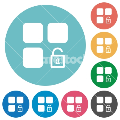 Unlock component flat round icons - Unlock component flat white icons on round color backgrounds