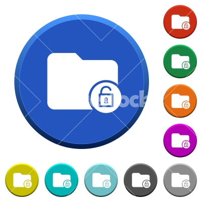 Unlock directory beveled buttons - Unlock directory round color beveled buttons with smooth surfaces and flat white icons