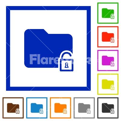 Unlock folder framed flat icons - Set of color square framed unlock folder flat icons