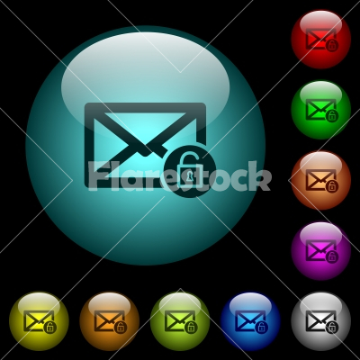 Unlock mail icons in color illuminated glass buttons - Unlock mail icons in color illuminated spherical glass buttons on black background. Can be used to black or dark templates