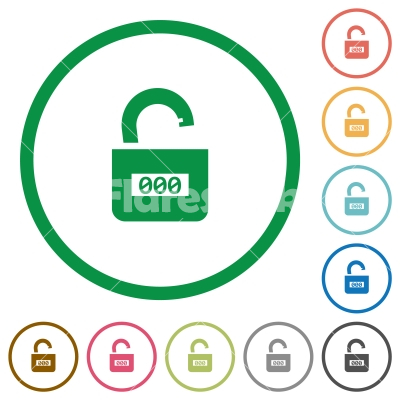 Unlocked combination lock with center numbers flat icons with outlines - Unlocked combination lock with center numbers flat color icons in round outlines on white background