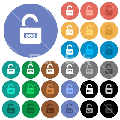 Unlocked combination lock with center numbers round flat multi colored icons - Unlocked combination lock with center numbers multi colored flat icons on round backgrounds. Included white, light and dark icon variations for hover and active status effects, and bonus shades.