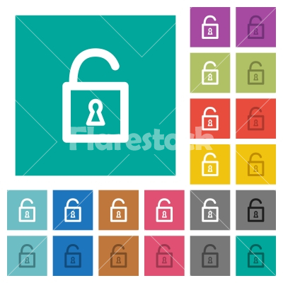 Unlocked padlock square flat multi colored icons - Unlocked padlock multi colored flat icons on plain square backgrounds. Included white and darker icon variations for hover or active effects.