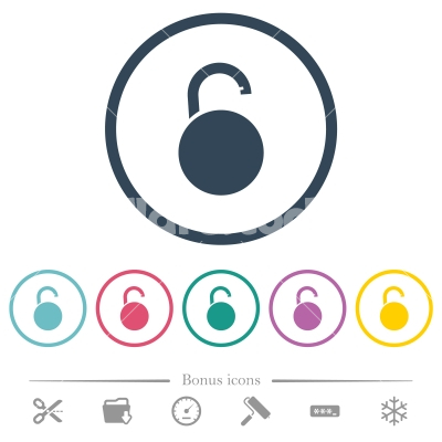 Unlocked round padlock flat color icons in round outlines - Unlocked round padlock flat color icons in round outlines. 6 bonus icons included.