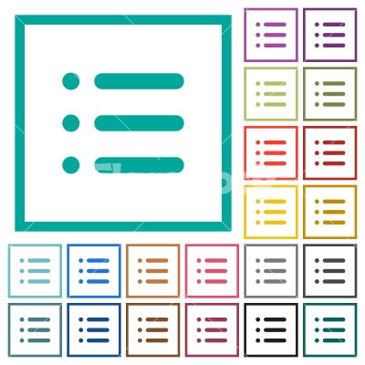 Unordered list flat color icons with quadrant frames - Stock vector ...