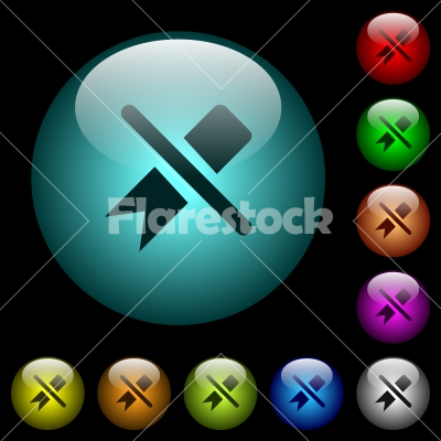 Untag icons in color illuminated glass buttons - Untag icons in color illuminated spherical glass buttons on black background. Can be used to black or dark templates - Free stock vector