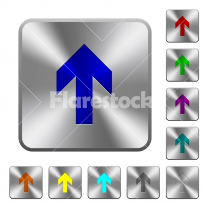 Up Arrow Rounded Square Steel Buttons Stock Vector Flarestock