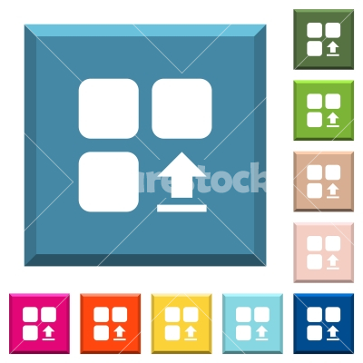 Upload component white icons on edged square buttons - Upload component white icons on edged square buttons in various trendy colors